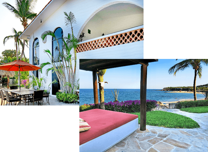 Collage of exterior photos showing an outdoor bed facing the ocean and a spanish style patio