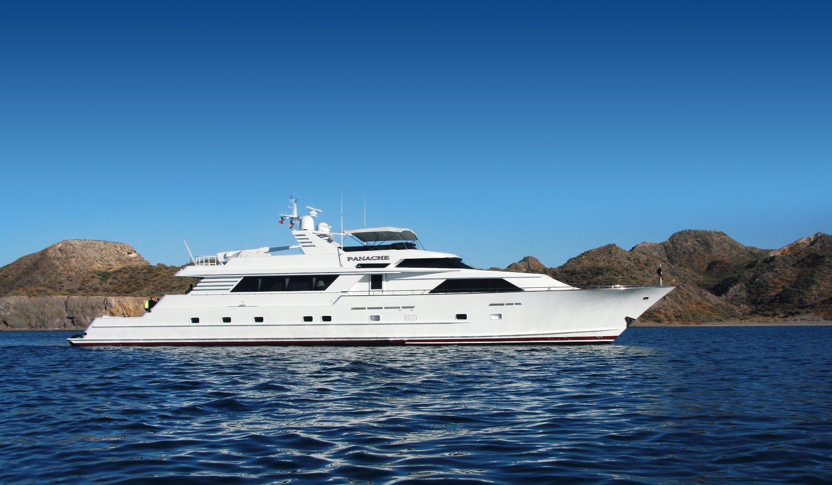 Side view of a Super Yacht called Panache